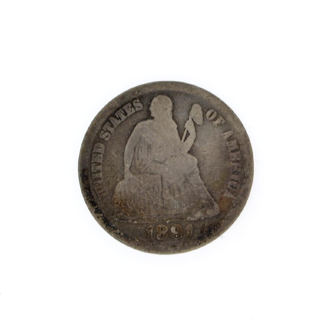 Rare 1891 Liberty Seated Dime Coin
