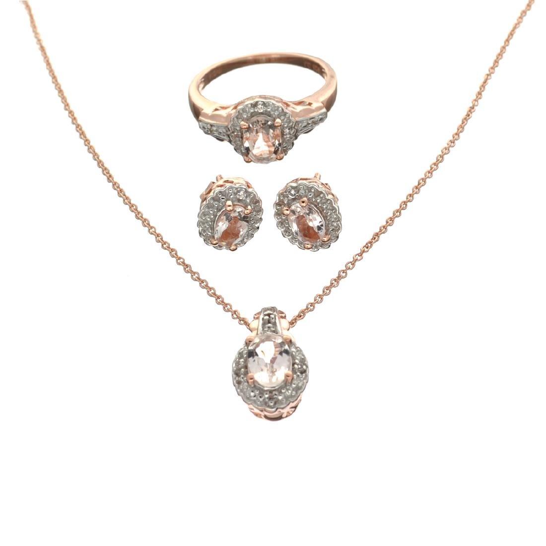 Fine Jewelry 2.23CT Morganite And  White Topaz Rose