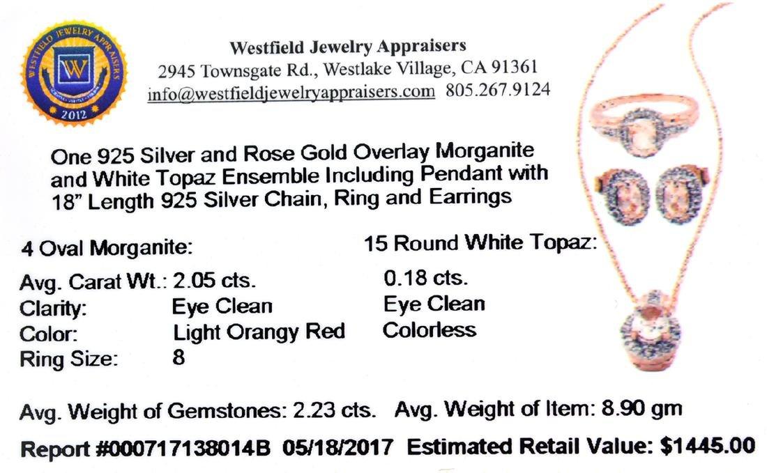 Fine Jewelry 2.23CT Morganite And  White Topaz Rose - 2