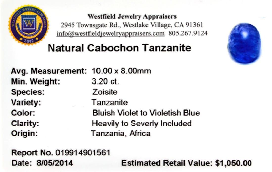 APP: 1k 3.20CT Natural Cabochon Tanzanite Gemstone - 2