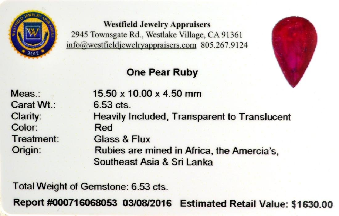 APP: 1.6k 6.53CT Pear Cut Ruby Gemstone - 2