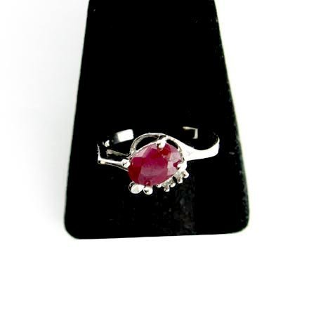 1206: 14 kt. White Gold, 1.10CT Ruby and Diamond Ring,