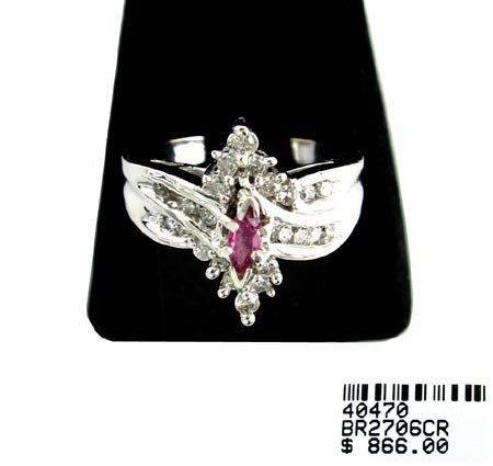 1224: GOV: 14 kt. White Gold, 0.27CT Ruby and Diamond R