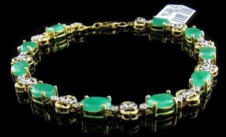 1238: 14 kt. Gold, 8.20CT Emerald and Diamond Bracelet,