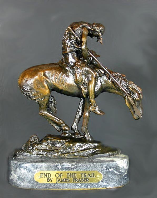 1216: Museum Quality Bronze: James Fraser - End Of The