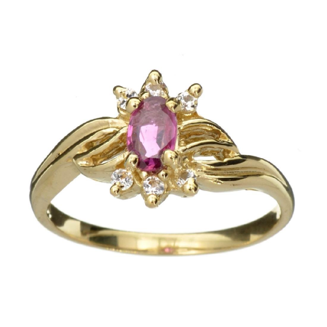 APP: 1k 14 kt. Gold, 0.31CT Oval Cut Ruby Ring