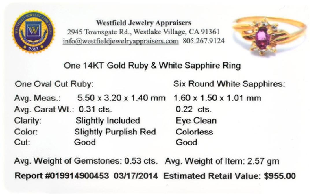 APP: 1k 14 kt. Gold, 0.31CT Oval Cut Ruby Ring - 2