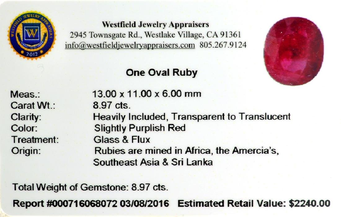 APP: 2.2k 8.97CT Oval Cut Ruby Gemstone - 2