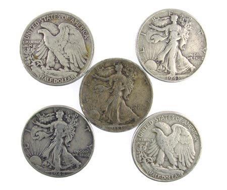 2528: GOV: 5 Walking Liberty US Half Dollar-Various Yea