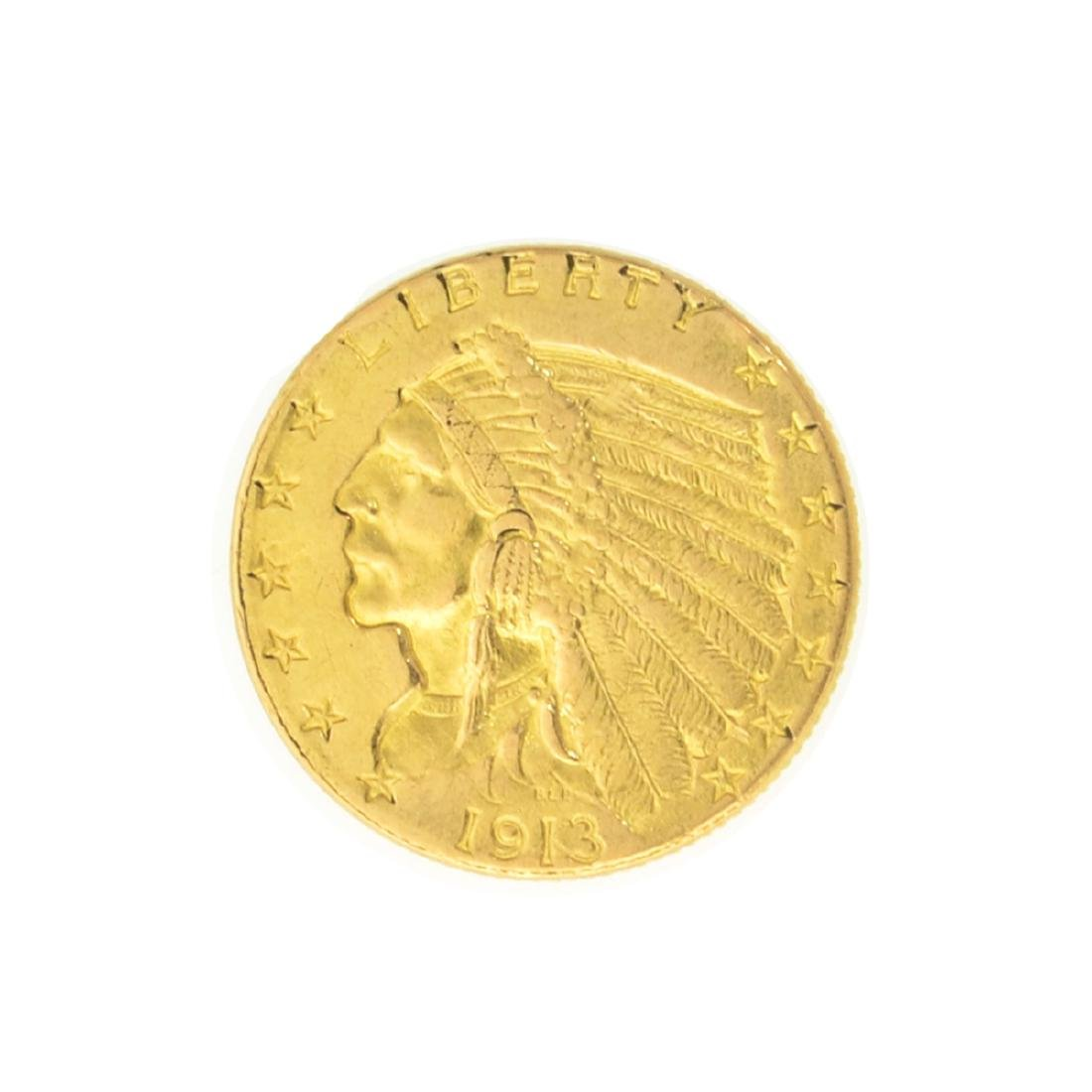 1913 $2.50 U.S. Indian Head Gold Coin - Great