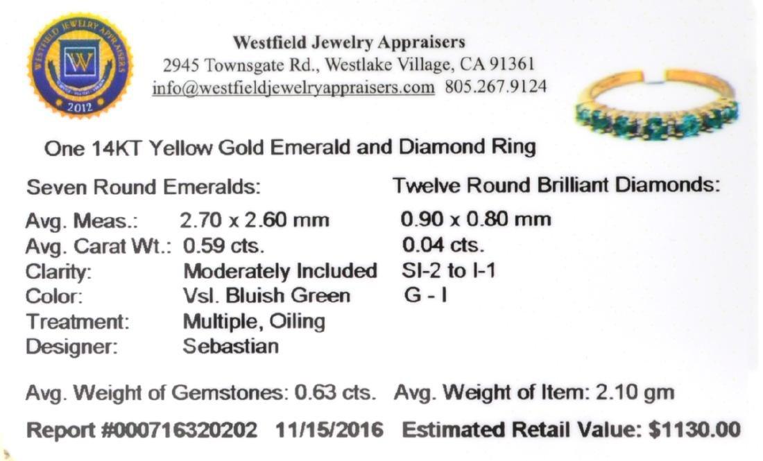 Designer Sebastian 14KT Gold 0.59CT Emerald and 0.04CT - 2