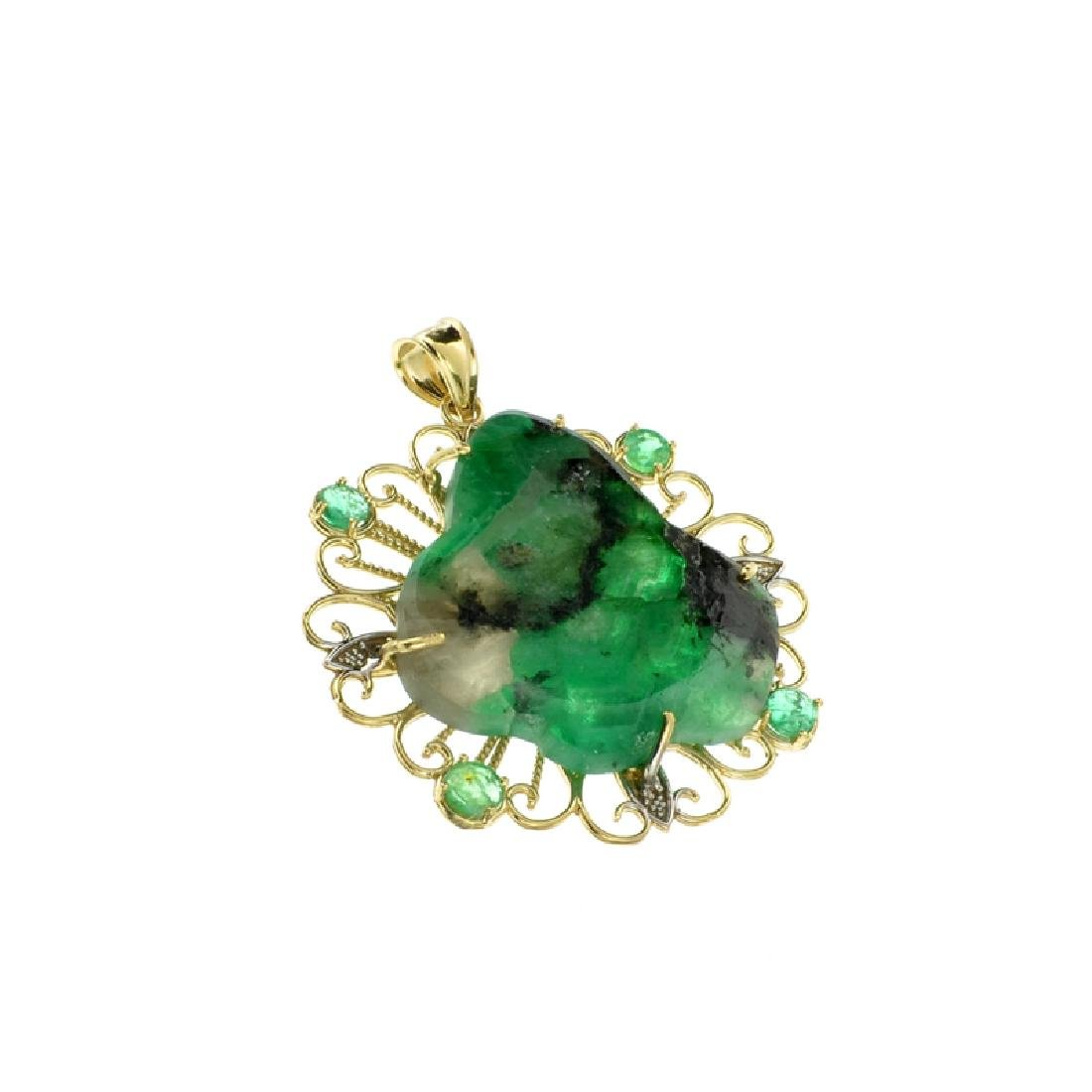 Fine Jewelry 14KT Gold, 17.80CT Rare Natural Form Green