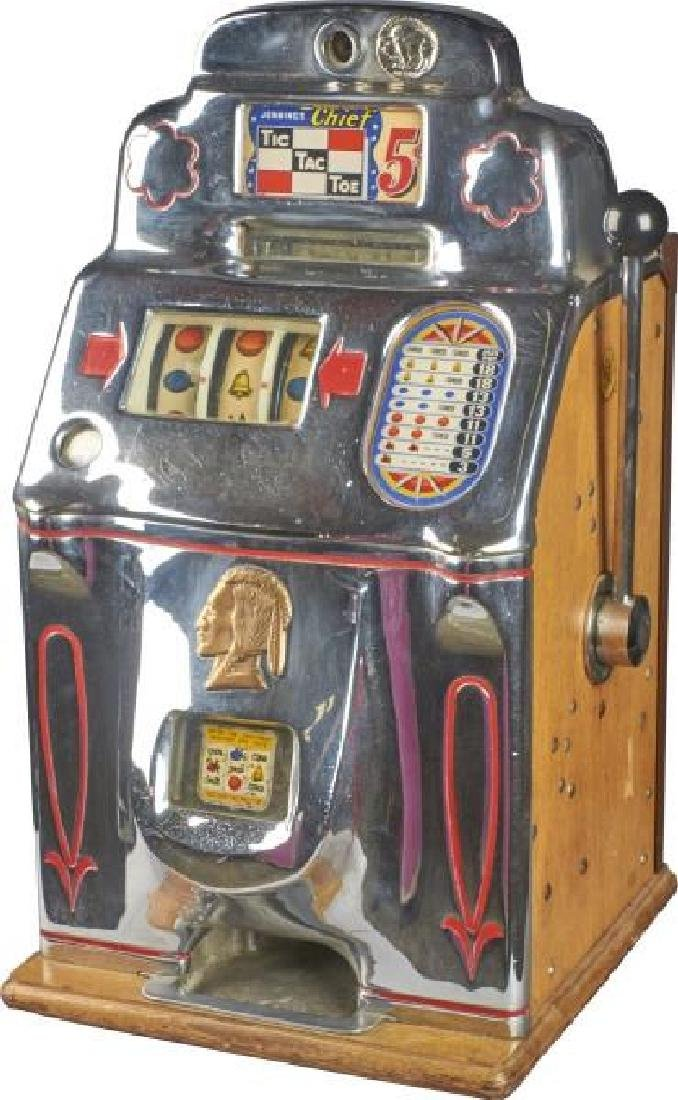 5 ¢ Jennings Chief Restpred Tic-Tac-Toe Slot Machine