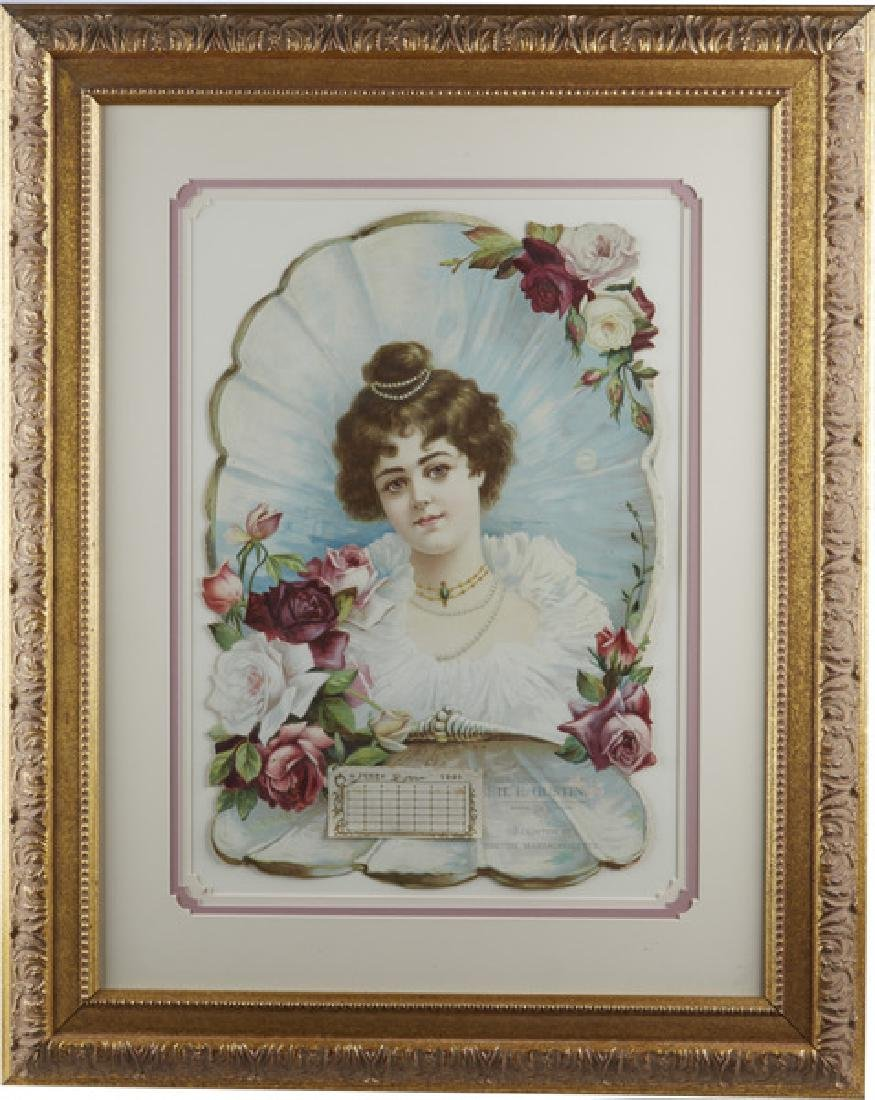 Rose And Roses 1901 Embossed Calendar Framed 22x28 -P-