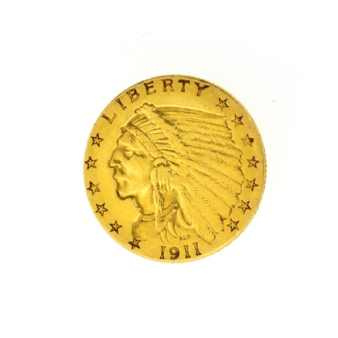 *1911 $2.50 U.S. Indian Head Gold Coin (JG)