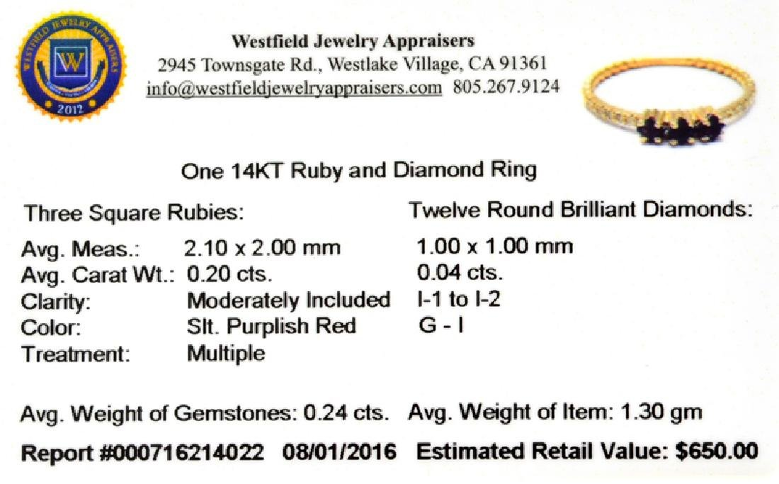 APP: 0.6k Fine Jewelry 14 KT Gold, 0.24CT Ruby And - 2