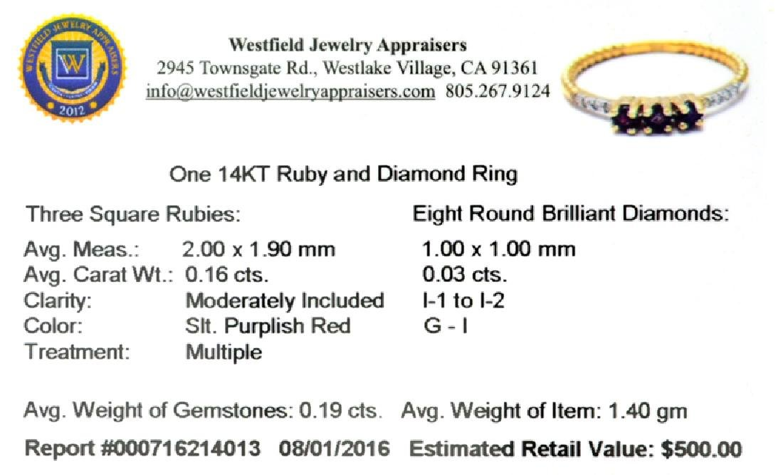 APP: 0.5k Fine Jewelry 14 KT Gold, 0.19CT Red Ruby And - 2