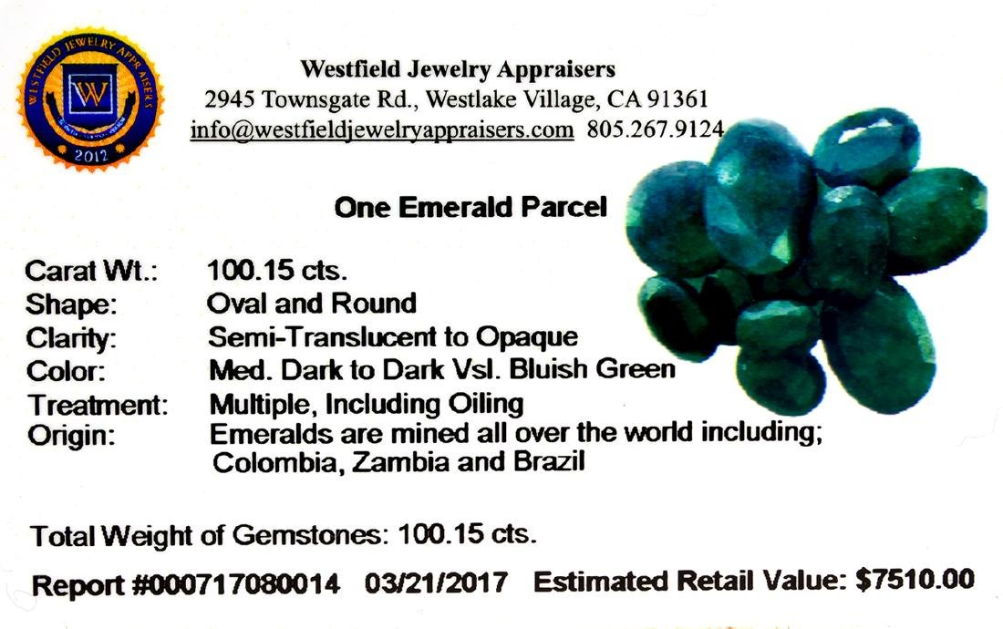 APP: 7.5k 100.15CT Oval / Round Cut Green Emeral Parcel - 2