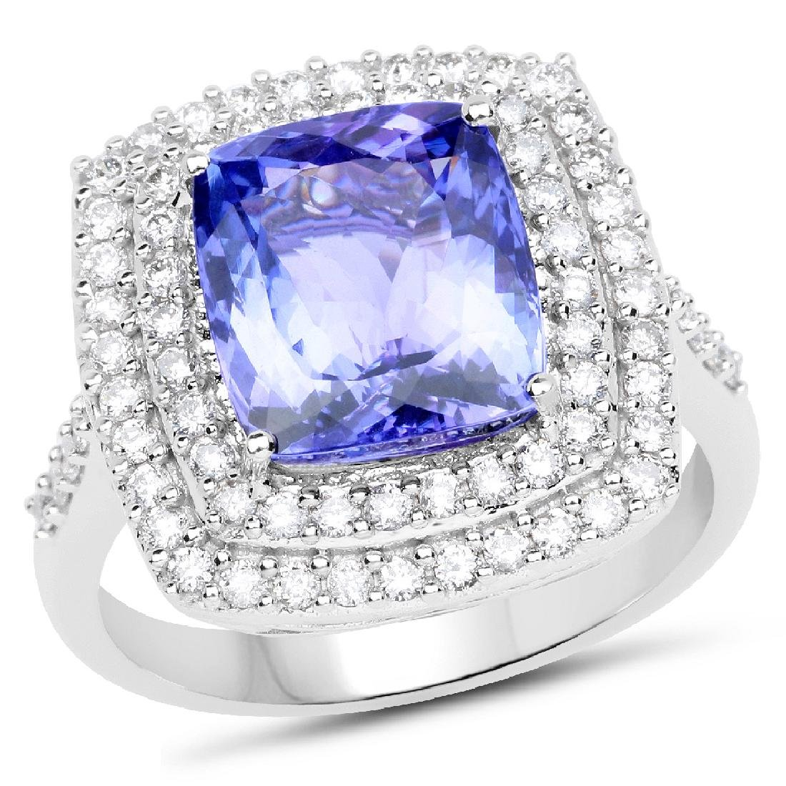 *14 kt. White Gold, 4.69CT Cushion Cut Tanzanite And