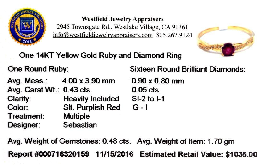 Designer Sebastian 14 KT Gold 0.43CT Round Cut Ruby and - 2