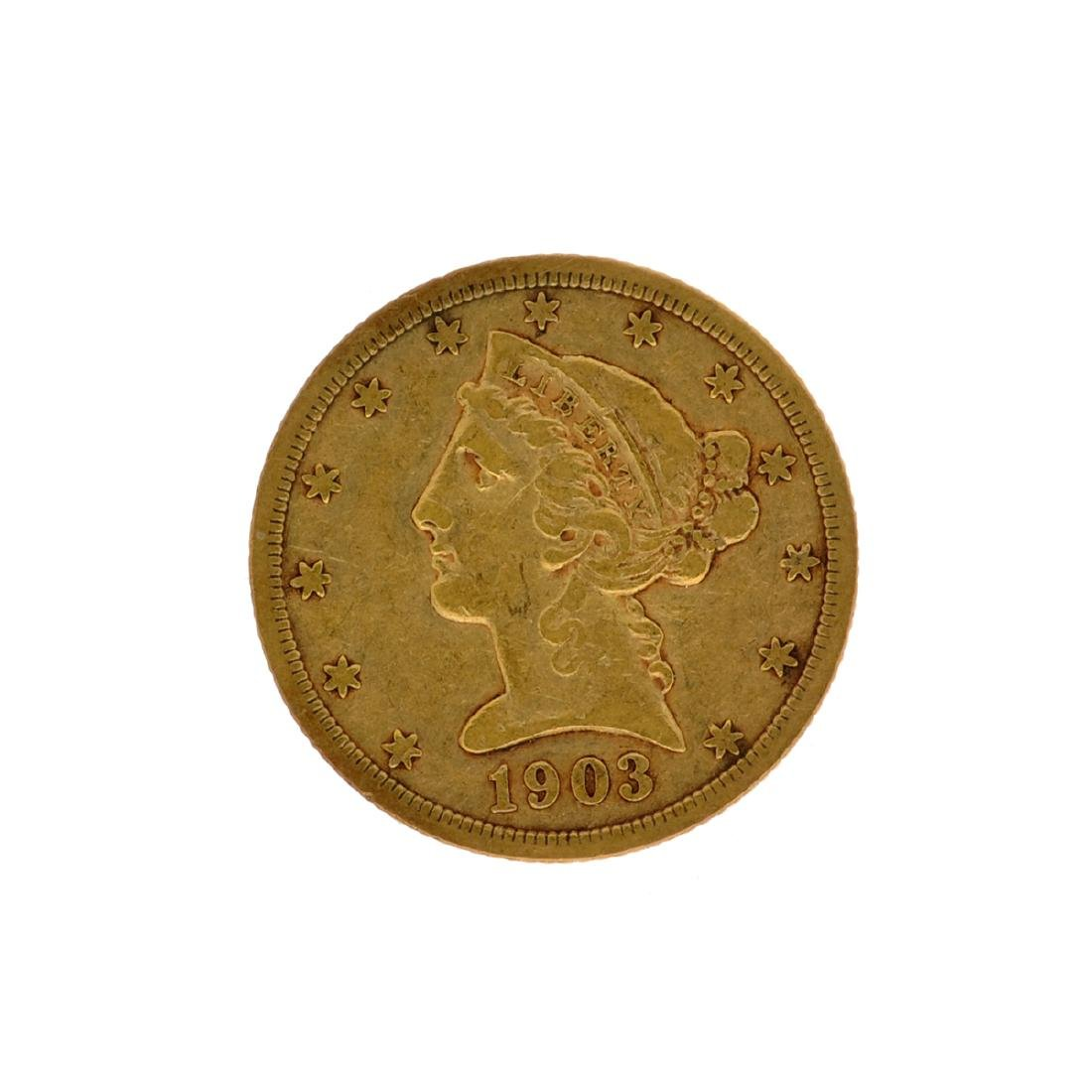 *1903-S $5 Liberty Head Gold Coin (DF)