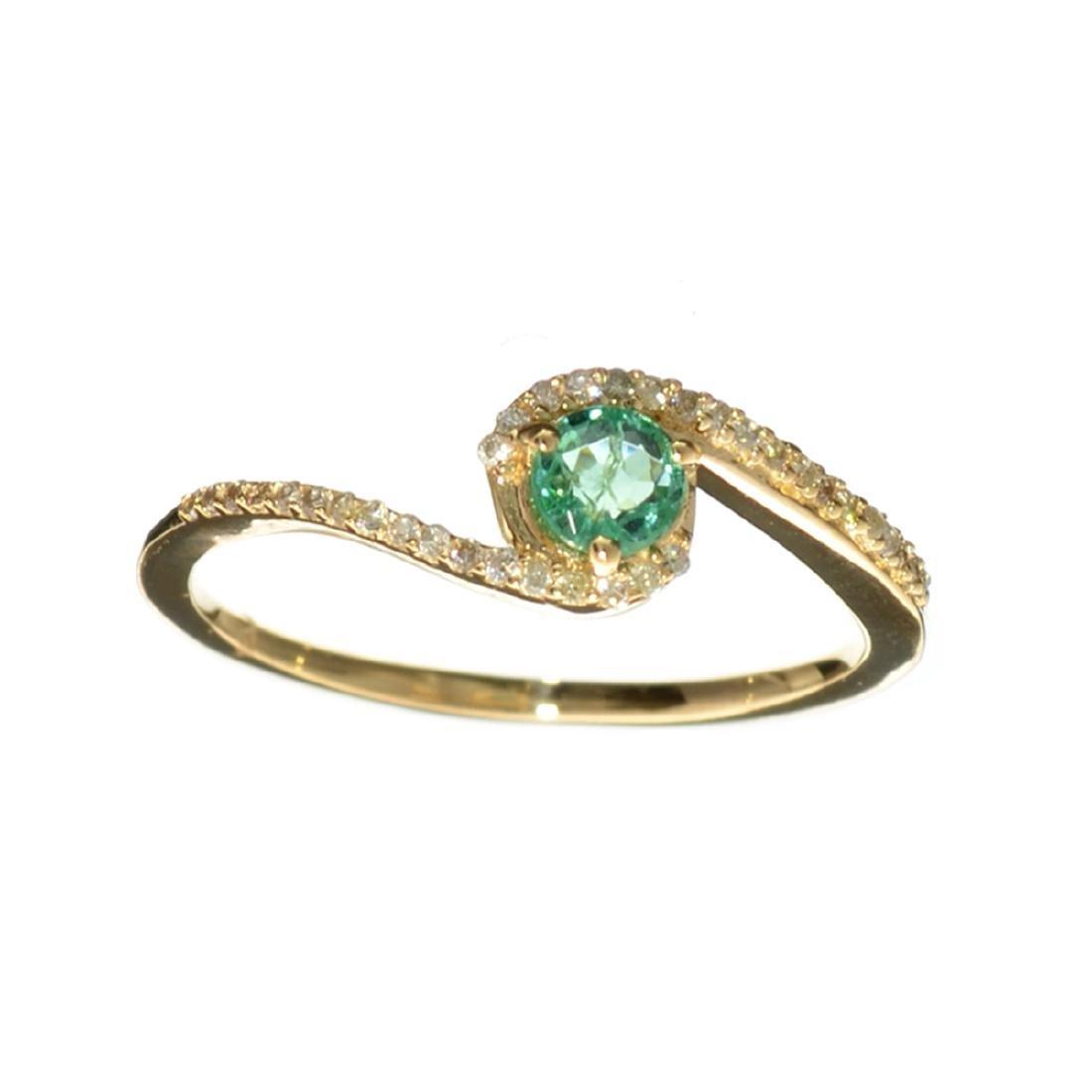 Designer Sebastian 14 KT Gold 0.32CT Emerald and 0.07CT