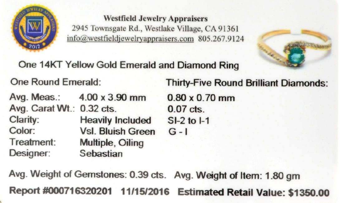 Designer Sebastian 14 KT Gold 0.32CT Emerald and 0.07CT - 2