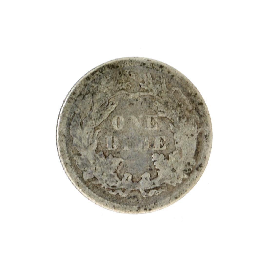 1876 Liberty Seated Dime Coin - 2