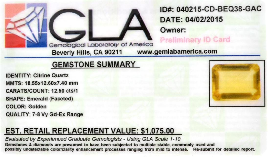 APP: 1.1k 12.50CT Emerald Cut Golden Citrine Quartz - 2