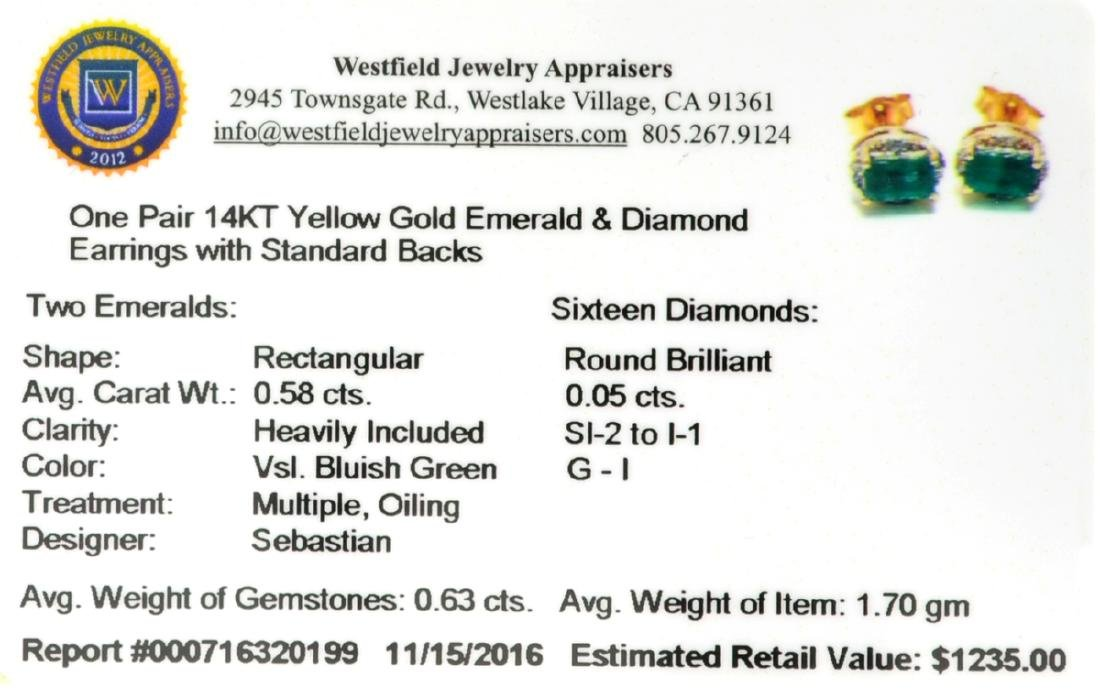 14 KT Gold 0.58CT Rectangular Cut Emerald and 0.05CT - 2