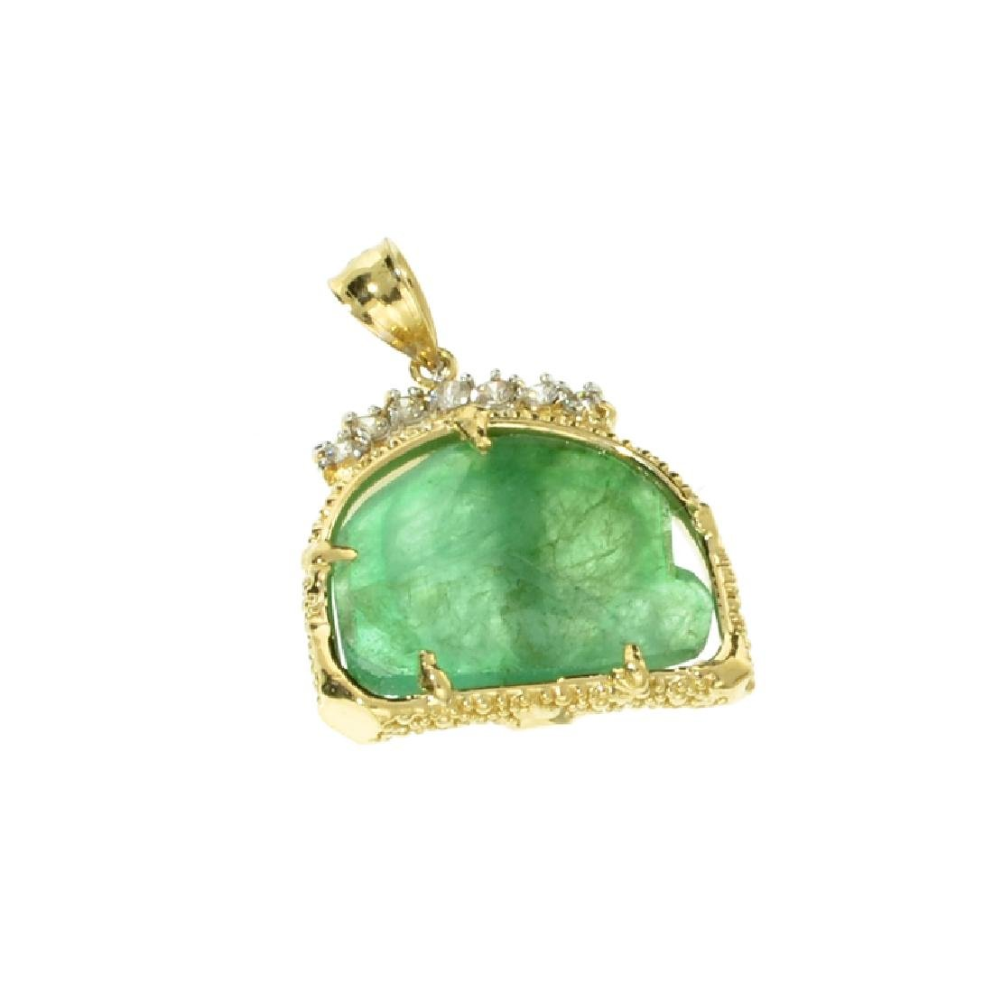 Fine Jewelry 14 KT Gold, 6.67CT Rare Natural Form Green