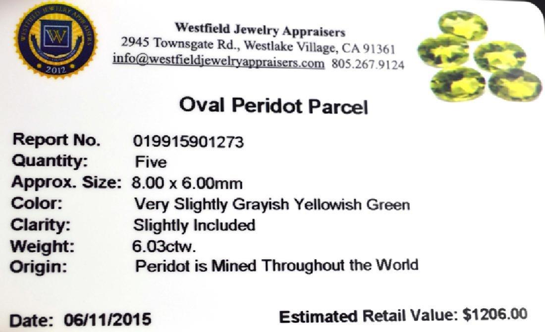 APP: 1.2k 6.03CT Oval Cut Green Peridot Parcel - 2