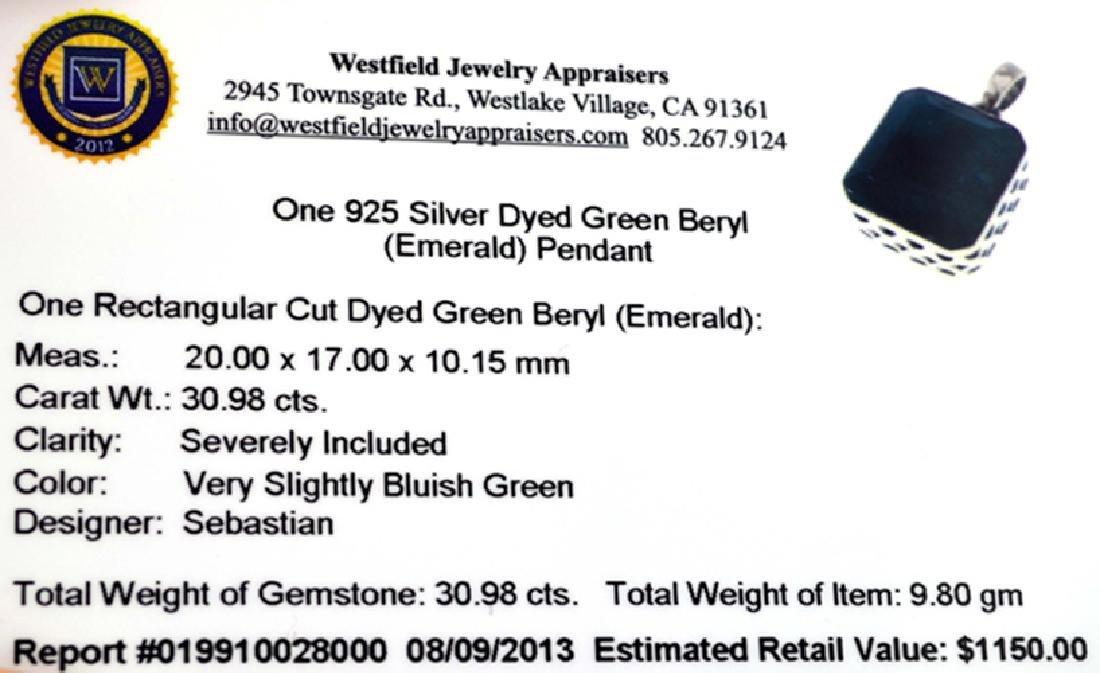 Designer Sebastian 30.98CT Rectangular Cut Green Beryl - 2