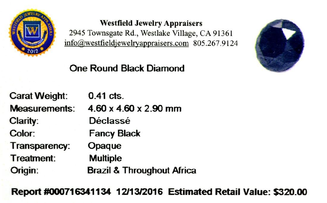 APP: 0.3k 0.41CT Round Cut Black Diamond Gemstone - 2