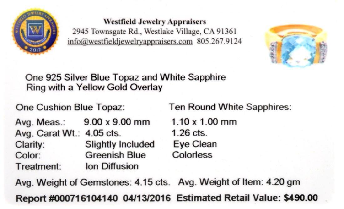 Fine Jewelry 4.15CT Blue Topaz And White Sapphire W a - 2