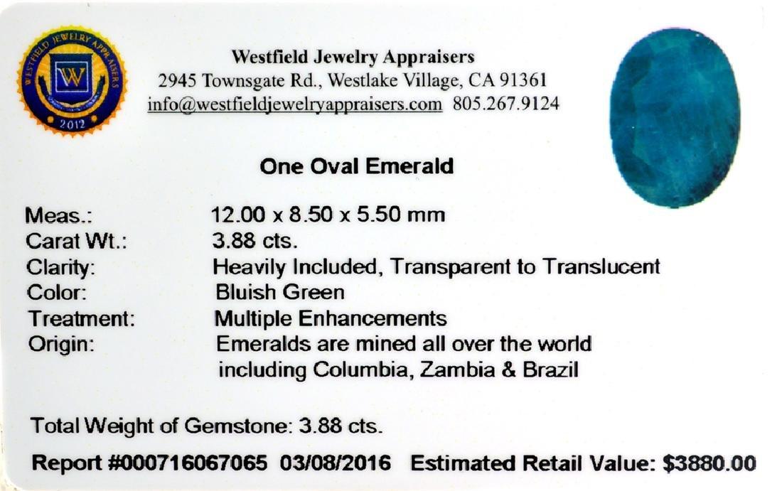 APP: 3.9k 3.88CT Oval Cut Green Emerald Gemstone - 2