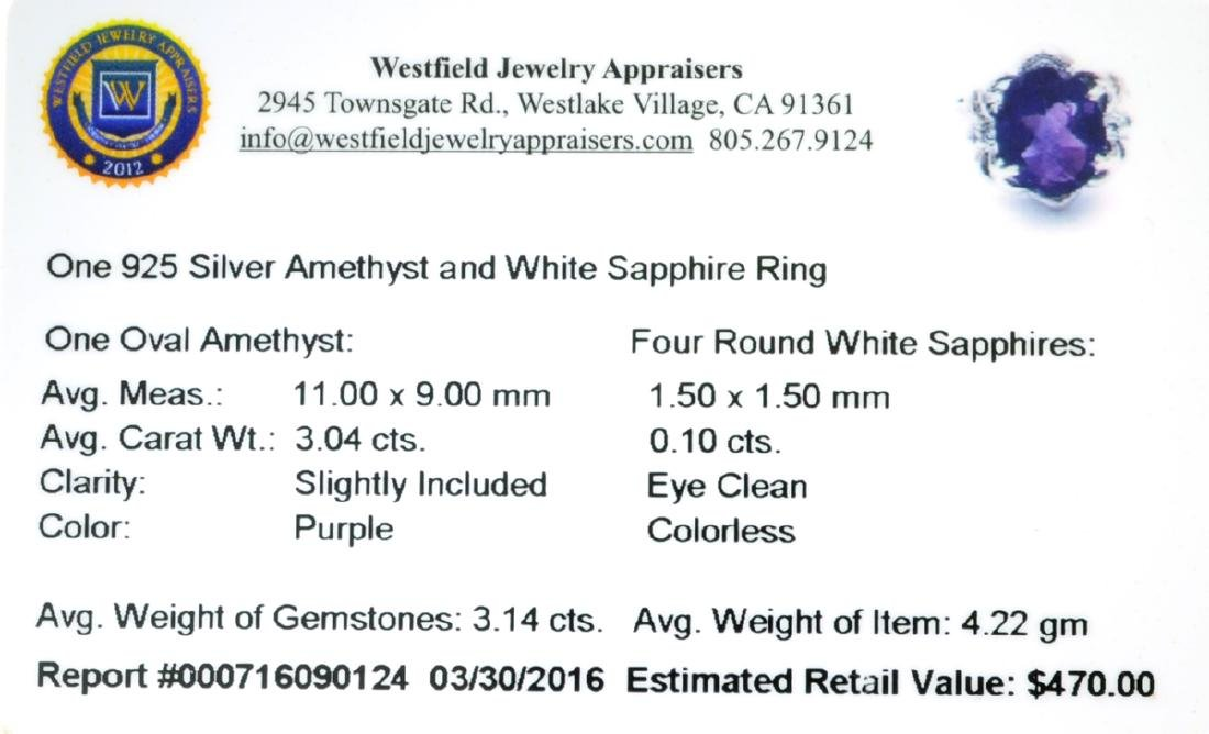APP: 0.5k Fine Jewelry 3.14CT Purple Amethyst And White - 2