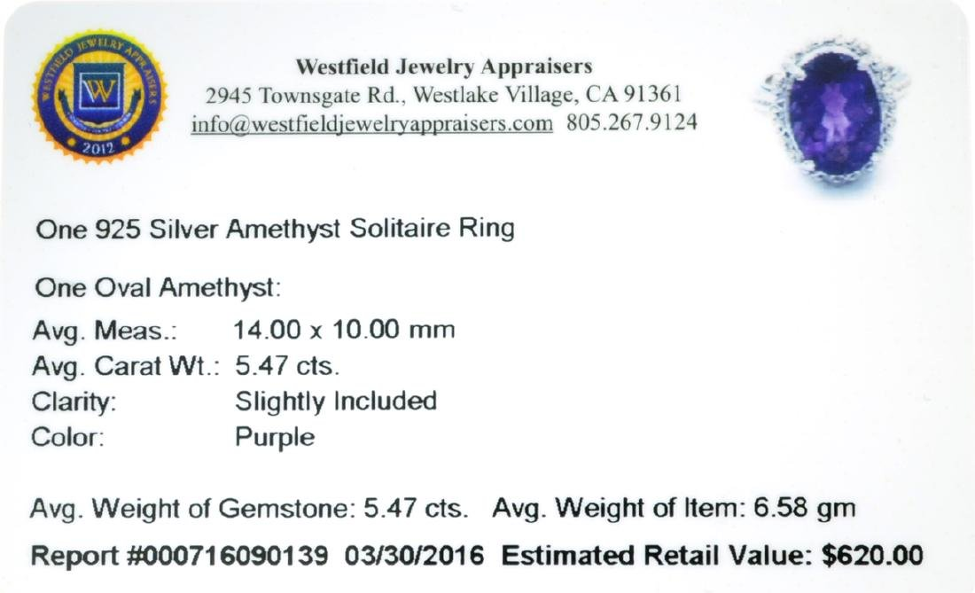 APP: 0.6k Fine Jewelry 5.47CT Oval Cut Purple Amethyst - 2