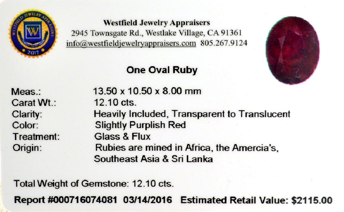 APP: 2.1k 12.10CT Oval Cut Ruby Gemstone - 2