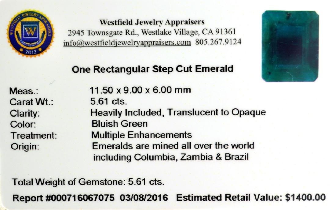 APP: 1.4k 5.61CT Rectangular Step Cut Green Emerald - 2