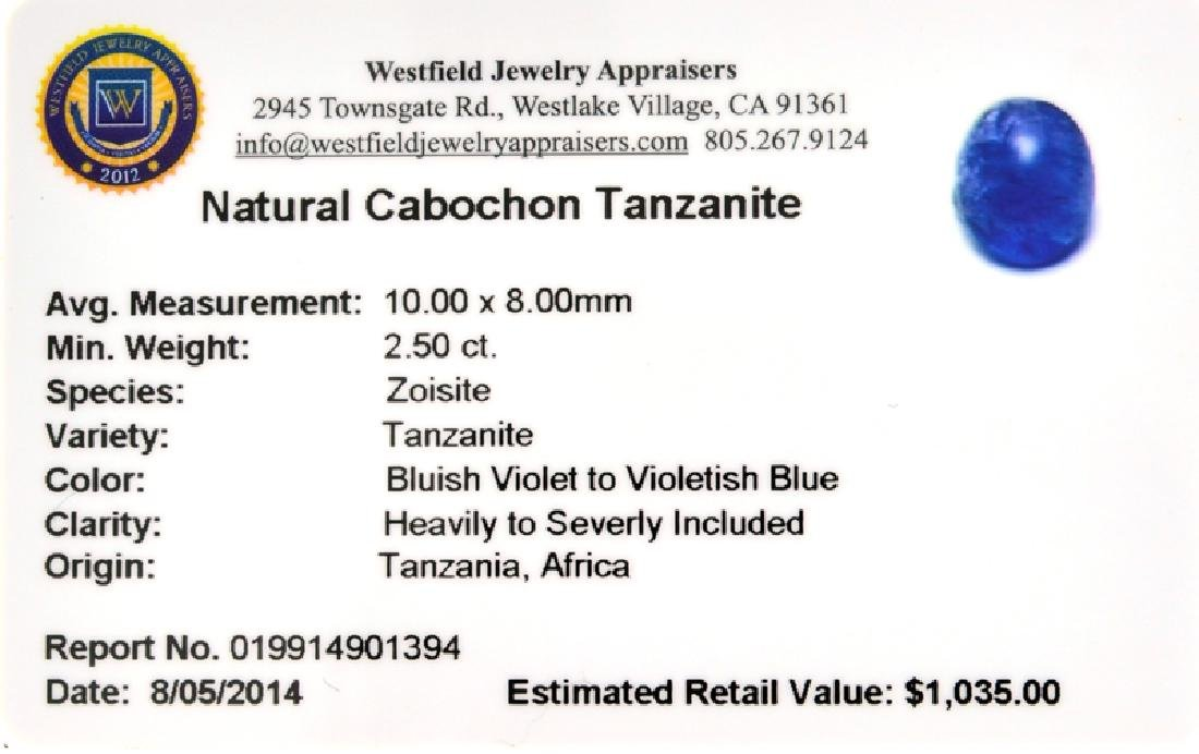 APP: 1k 2.50CT Natural Cabochon Tanzanite Gemstone - 3