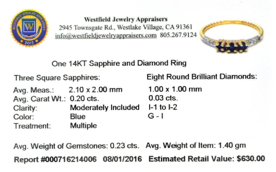 APP: 0.6k Fine Jewelry 14 KT Gold, 0.23CT Blue Sapphire - 2