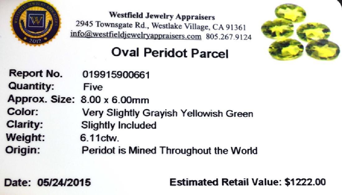APP: 1.2k 6.11CT Oval Cut Green Peridot Parcel - 2