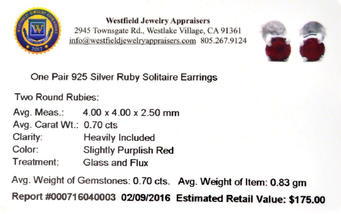 APP: 0.2k Fine Jewelry 0.70CT Round Cut Ruby And - 2