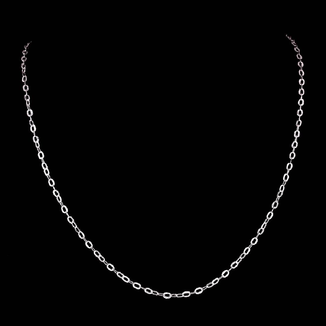 *Fine Jewelry 14 KT White Gold, 2.0GR, 18'' Corrugated