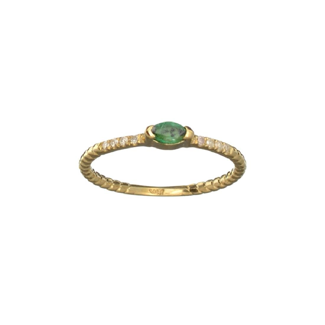 APP: 0.6k Fine Jewelry 14 KT Gold, 0.15CT Green Emerald