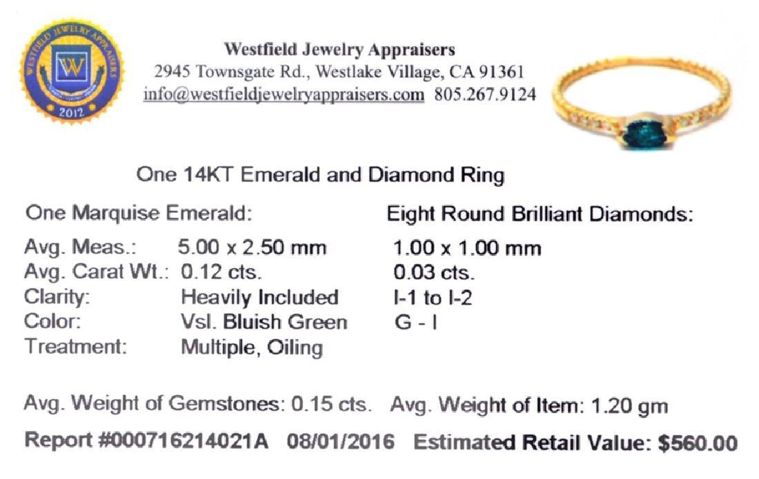 APP: 0.6k Fine Jewelry 14 KT Gold, 0.15CT Green Emerald - 2