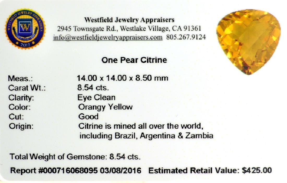 APP: 0.4k 8.54CT Pear Cut Citrine Gemstone - 2