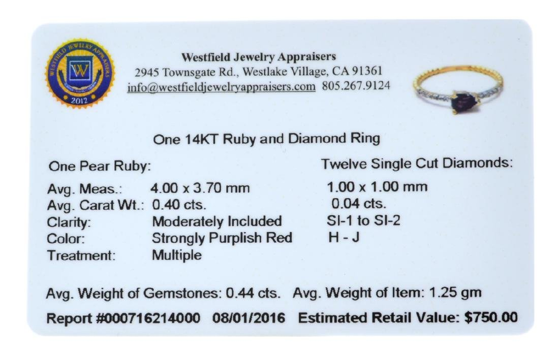 APP: 0.8k Fine Jewelry 14 KT Gold, 0.40CT Ruby And - 2