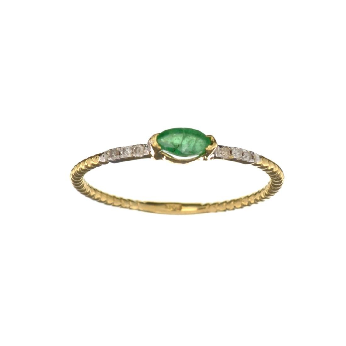 APP: 0.4k Fine Jewelry 14 KT Gold, 0.12CT Green Emerald